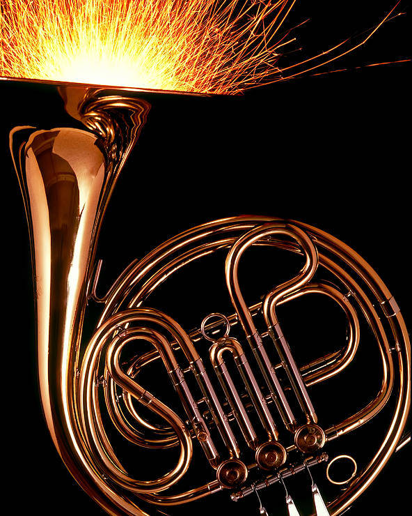 French Poster featuring the photograph French Horn With Sparks by Garry Gay
