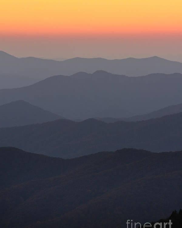 Great Smokie Mountains At Sunset Poster featuring the photograph Great Smokie Mountains At Sunset by Dustin K Ryan