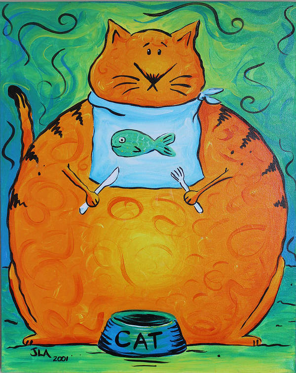 Fat Poster featuring the painting Hungry Cat by Jennifer Alvarez