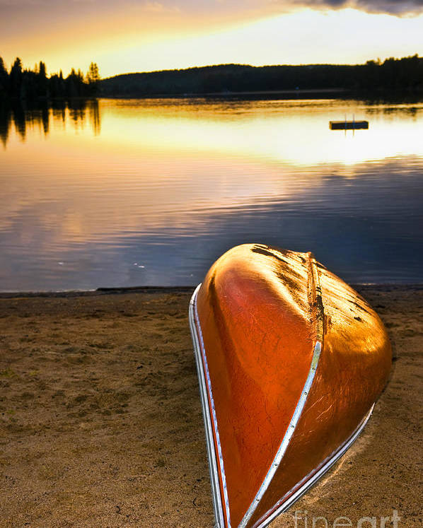 Canoe Poster featuring the photograph Lake Sunset With Canoe On Beach by Elena Elisseeva