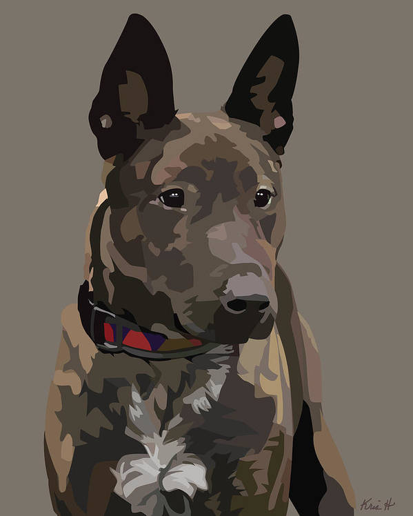 Mixed-breed Dog Poster featuring the digital art Listening by Kris Hackleman