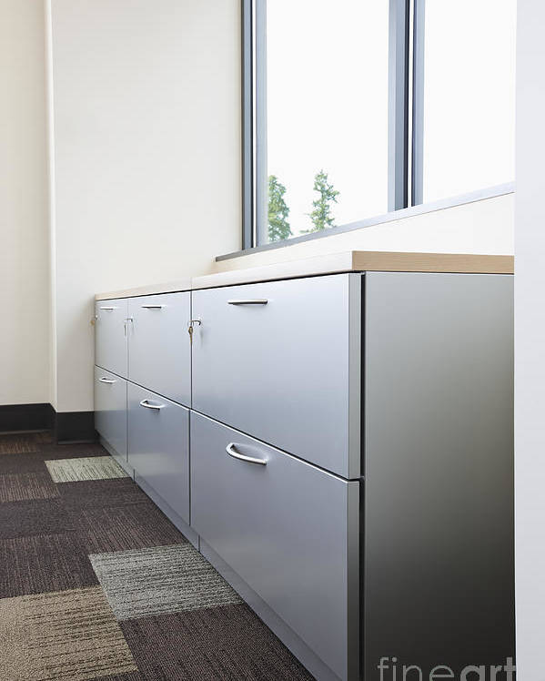 Architecture Poster featuring the photograph Metal Drawers And Shelf by Jetta Productions, Inc