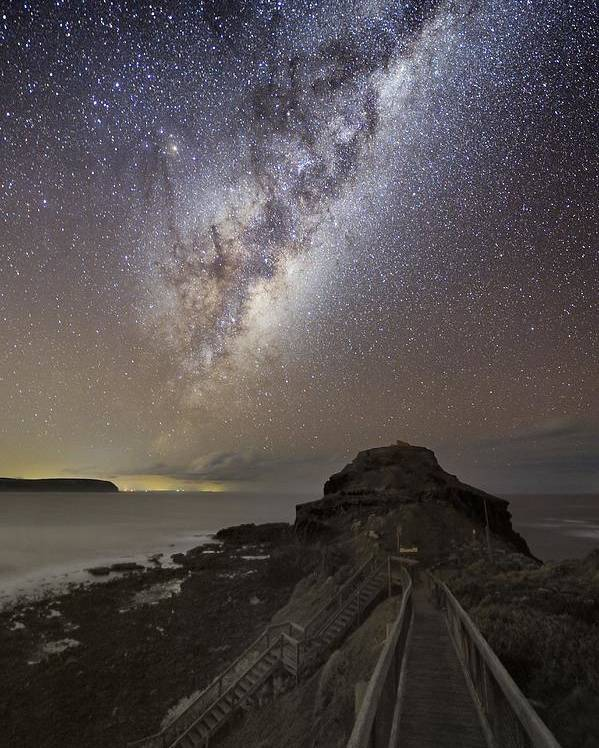 Milky Way Poster featuring the photograph Milky Way Over Cape Schanck, Australia by Alex Cherney, Terrastro.com