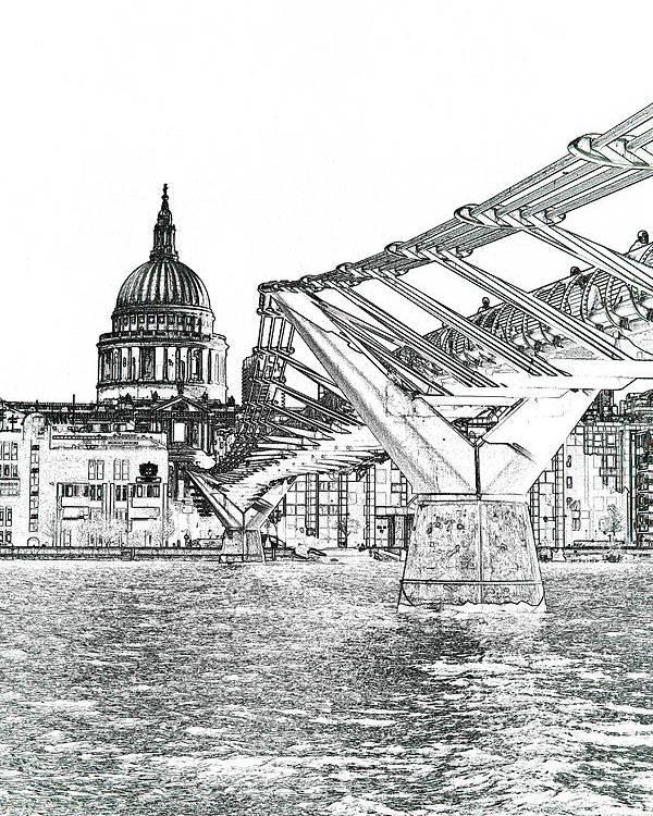 St Pauls Poster featuring the digital art Millenium Bridge And St Pauls by David Pyatt