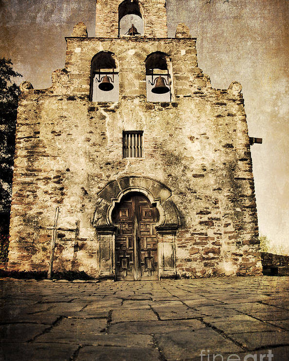Mission Poster featuring the photograph Mission Espada Under The Moonlight by Iris Greenwell