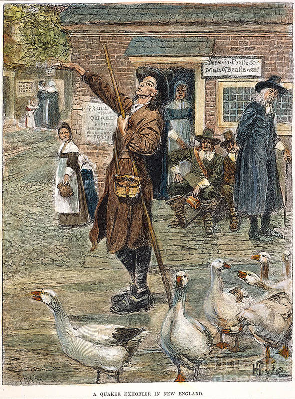1660 Poster featuring the photograph New England: Quaker, 1660 by Granger