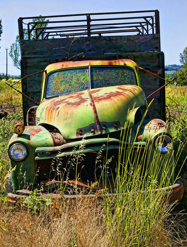 Green Poster featuring the photograph Old Green Truck by Garry Gay