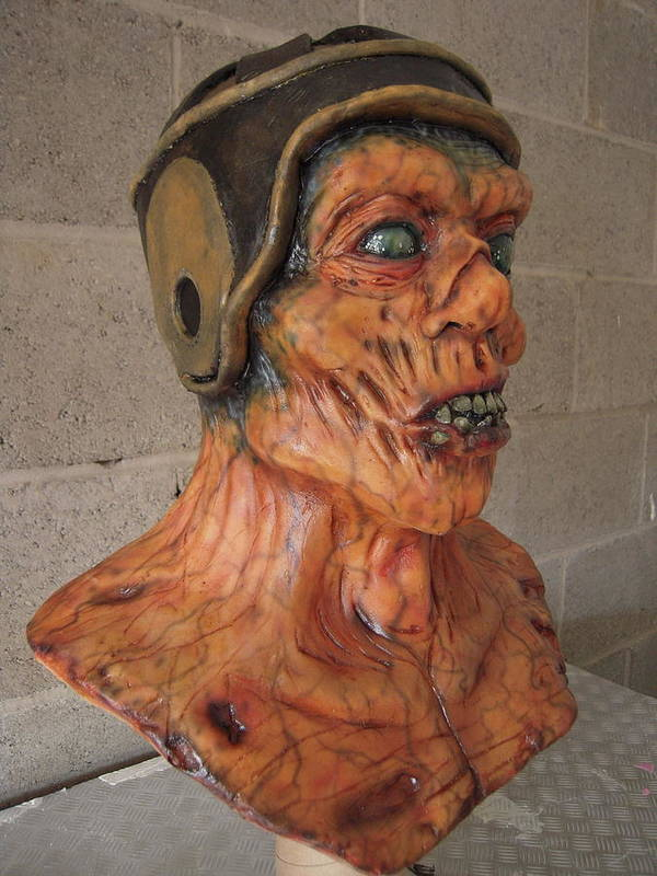 Zombie Poster featuring the sculpture Ole Leather Head by Scott Conner