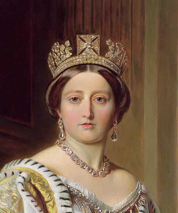 Female; Head And Shoulders; Crown; Ermine-trimmed Robe; Ermine; Jewellery; Jewelry; Queen; Royal; Imposing; Regal; Robes; Official; Formal; Young; Youth Poster featuring the painting Portrait Of Queen Victoria by Franz Xavier Winterhalter