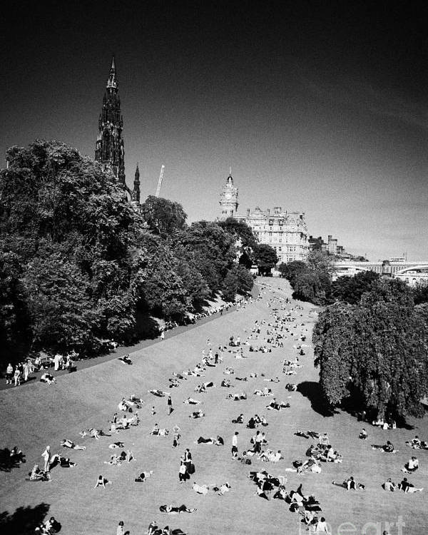 Princes Poster featuring the photograph Princes Street Gardens On A Hot Summers Day In Edinburgh Scotland Uk United Kingdom by Joe Fox