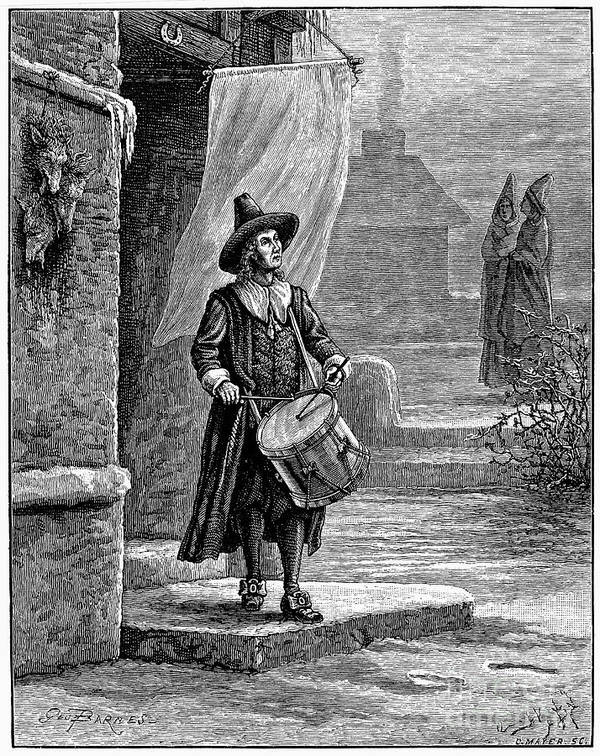 17th Century Poster featuring the photograph Puritan Church Drummer by Granger