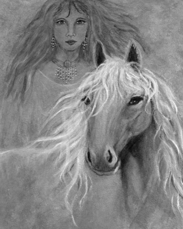 Horse Poster featuring the mixed media Rhiannon by The Art With A Heart By Charlotte Phillips