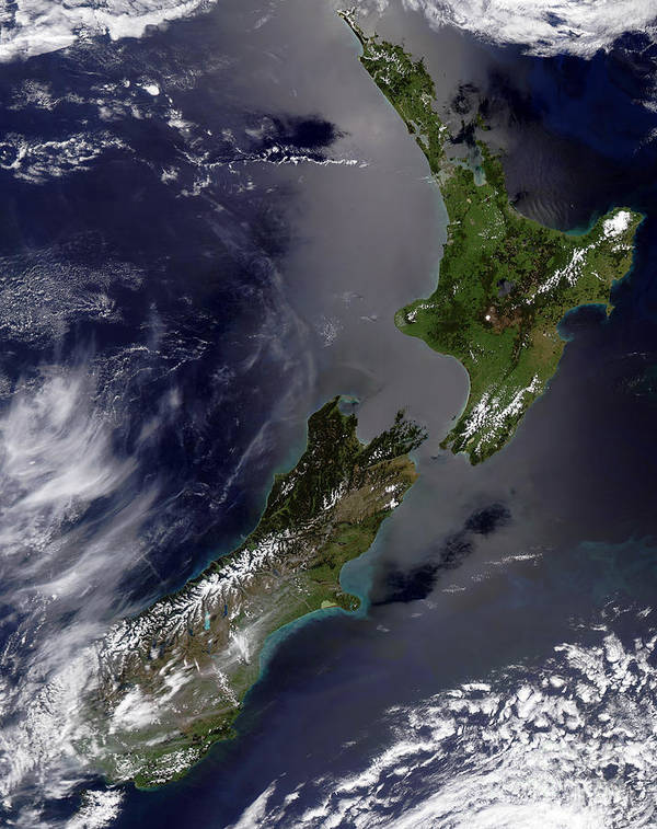 Color Image Poster featuring the photograph Satellite View Of New Zealand by Stocktrek Images
