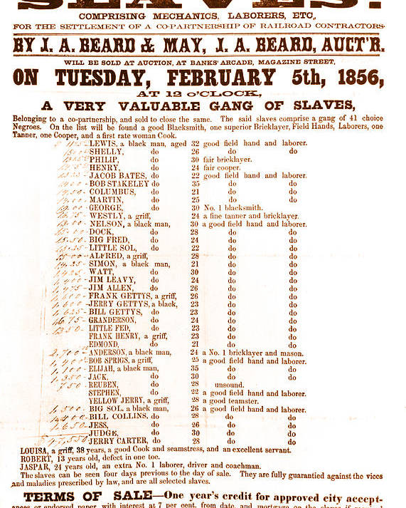 Abolition Poster featuring the photograph Slave Auction Notice by Photo Researchers, Inc.
