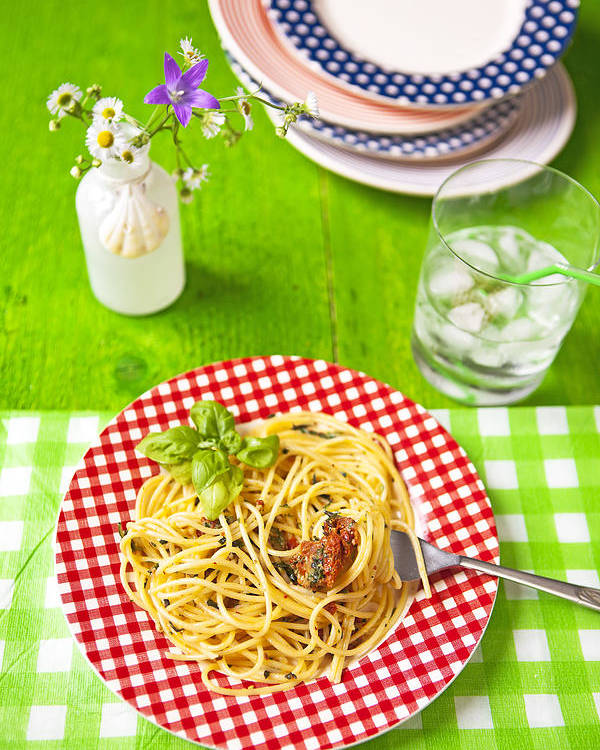 Pesto Poster featuring the photograph Spaghetti Al Pesto by Joana Kruse