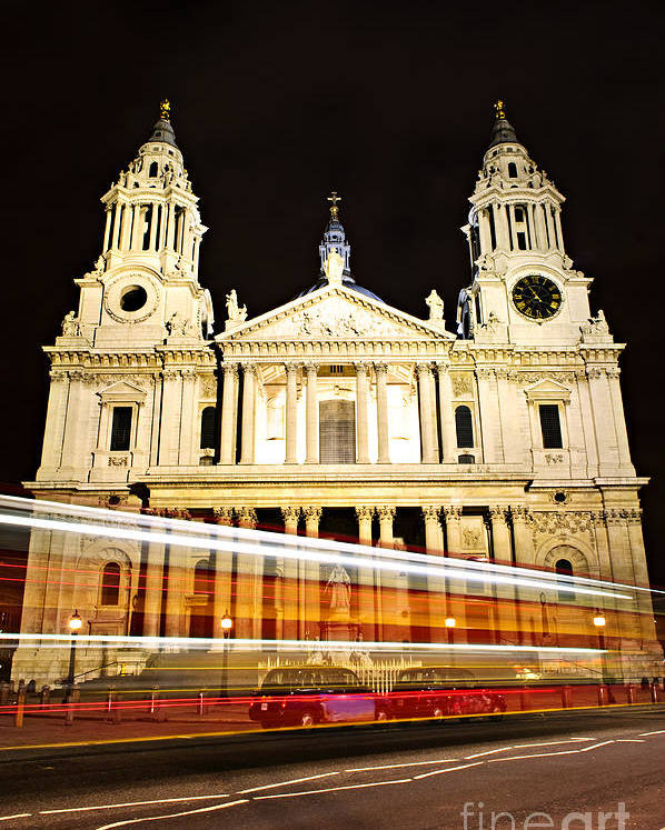 Saint Poster featuring the photograph St. Paul's Cathedral In London At Night by Elena Elisseeva