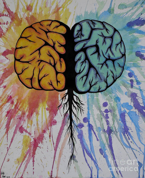 Colorful Poster featuring the painting The Brain by Holly Hunt