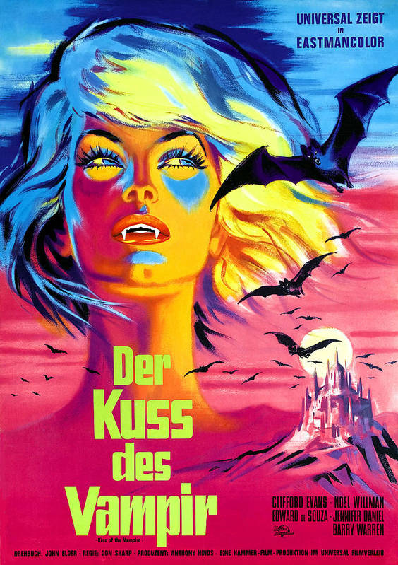 1960s Movies Poster featuring the photograph The Kiss Of The Vampire, Aka Kiss Of by Everett
