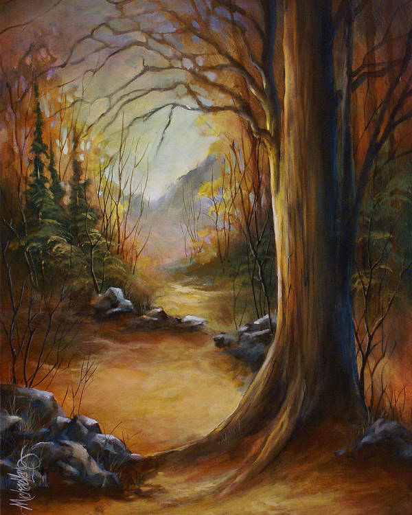 Landscape Poster featuring the painting 'the Walk' by Michael Lang