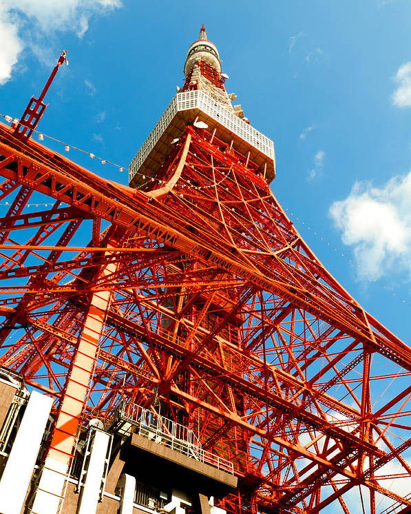 Architecture Poster featuring the photograph Tokyo Tower Face Cloudy Sky by Ulrich Schade