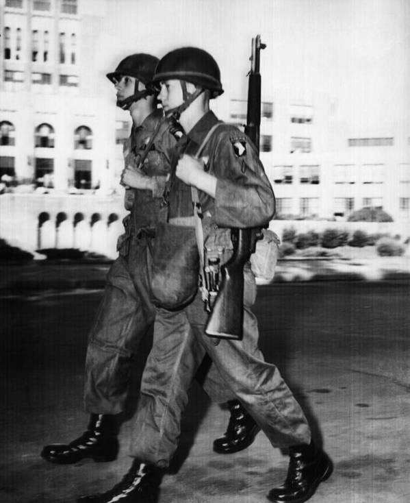 101st Airborne Division Poster featuring the photograph Us Civil Rights. Paratroopers by Everett