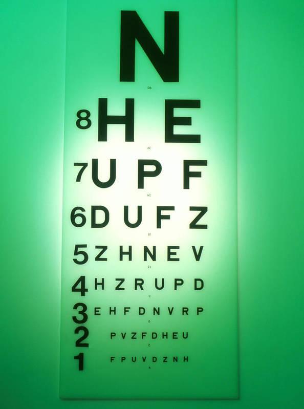 Snellen Chart Poster featuring the photograph View Of A Snellen Eye Test Chart by Tek Image