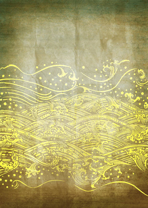 Abstract Poster featuring the photograph Water Pattern On Old Paper by Setsiri Silapasuwanchai