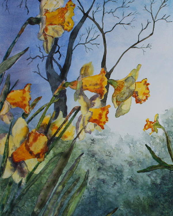 Floral Poster featuring the painting Welcome Springtime by Patsy Sharpe