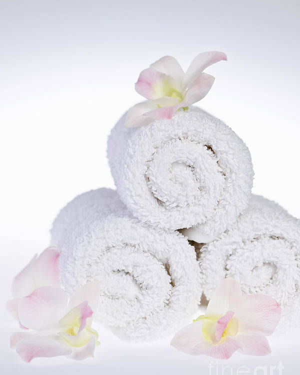 Towels Poster featuring the photograph White Spa by Elena Elisseeva