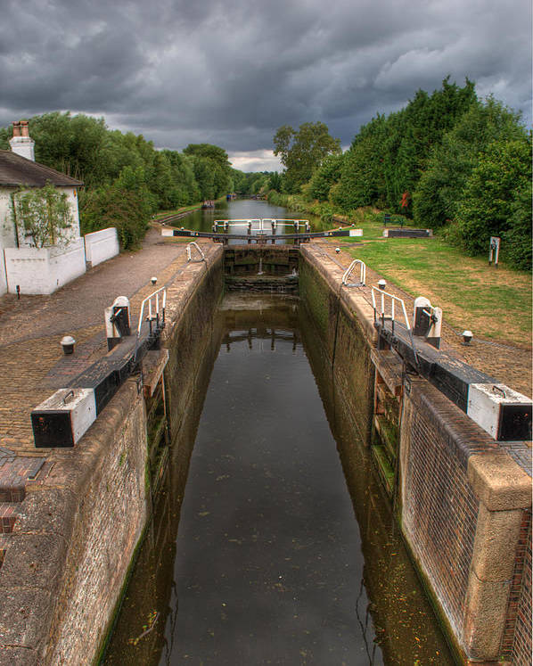 Grand Union Canal Poster featuring the photograph Wide Water Lock by Chris Day