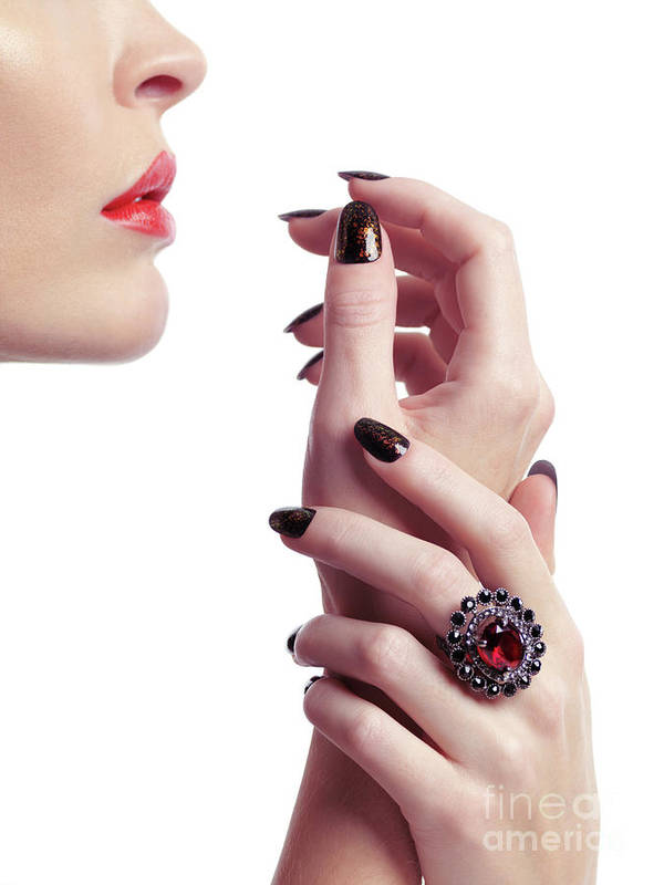 Jewelry Poster featuring the photograph Woman Hands And Lips by Oleksiy Maksymenko