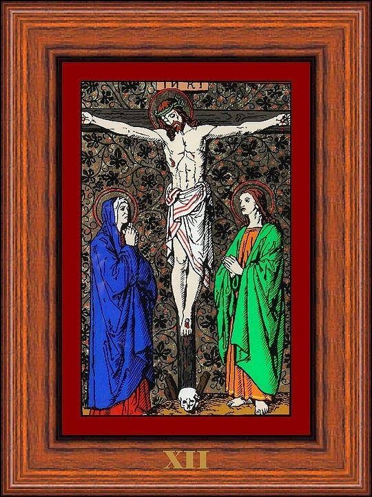 Xii - Iisus Moare Pe Cruce (jesus Dies On The Cross) - Icoana Pictata In Ulei Cu Foita De Aur Pe Sticla (icon Painted In Oil With Gold Leaf On Glass ) Poster featuring the painting Drumul Crucii - Stations Of The Cross by Buclea Cristian Petru
