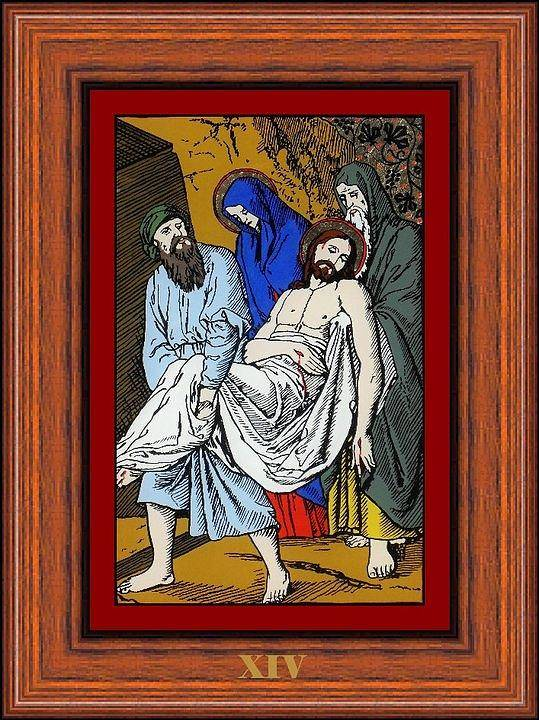 Xiv - Iisus Este Dus La Mormant (jesus Is Placed In The Sepulchre) - Icoana Pictata In Ulei Cu Foita De Aur Pe Sticla (icon Painted In Oil With Gold Leaf On Glass ) Poster featuring the painting Drumul Crucii - Stations Of The Cross by Buclea Cristian Petru