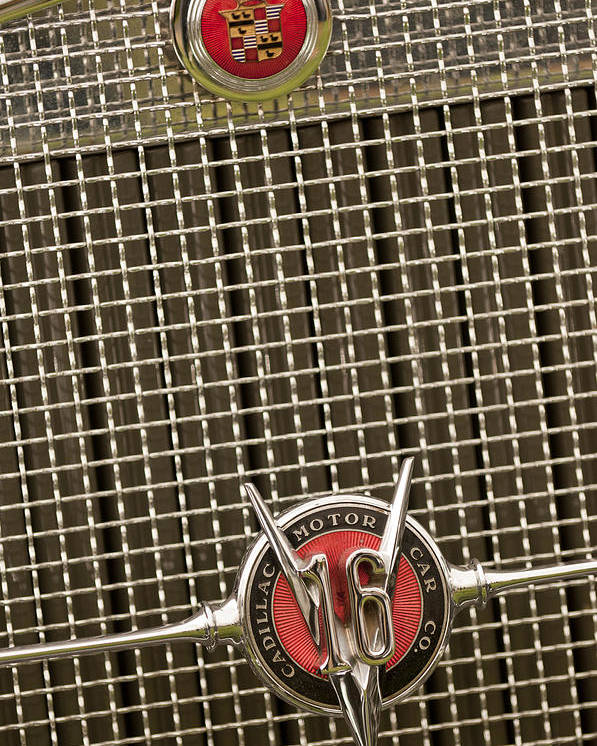 1930 Cadillac 452 Fleetwood Poster featuring the photograph 1930 Cadillac 452 Fleetwood Grille Emblem by Jill Reger