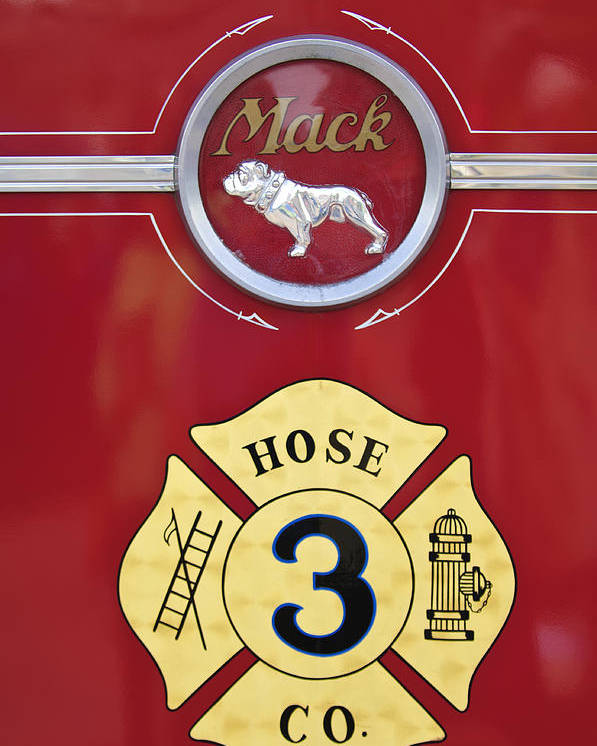1966 Mac C Model Open Cab Fire Truck Poster featuring the photograph 1966 Mac C Model Open Cab Fire Truck Emblem by Jill Reger