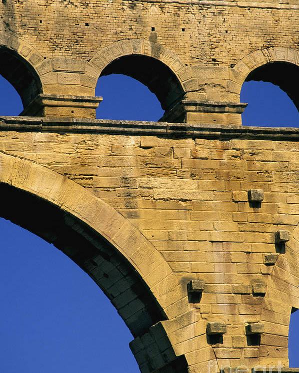 Europe Poster featuring the photograph Aqueduc Du Pont Du Gard.provence by Bernard Jaubert