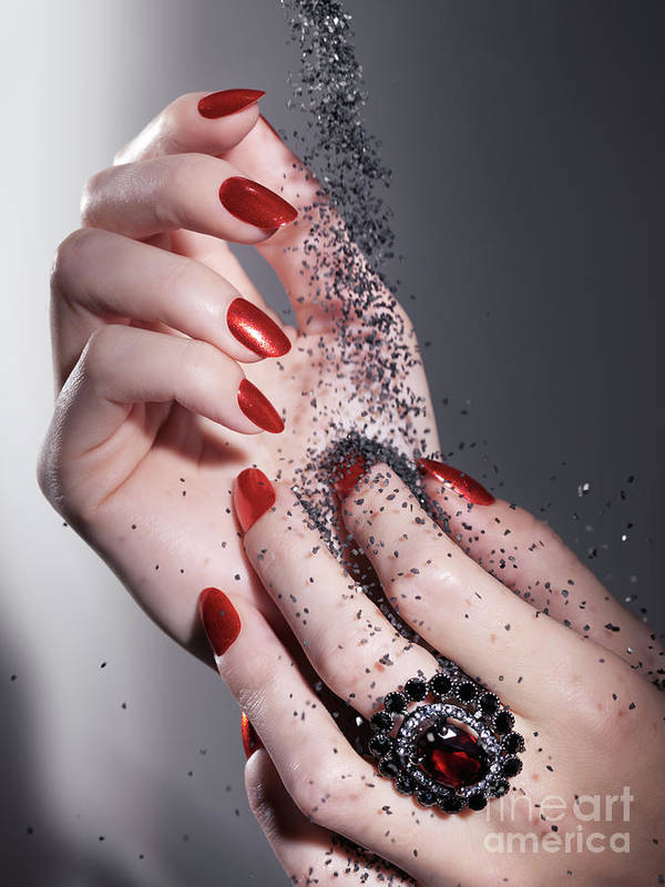 Manicure Poster featuring the photograph Black Sand Falling On Woman Hands by Oleksiy Maksymenko