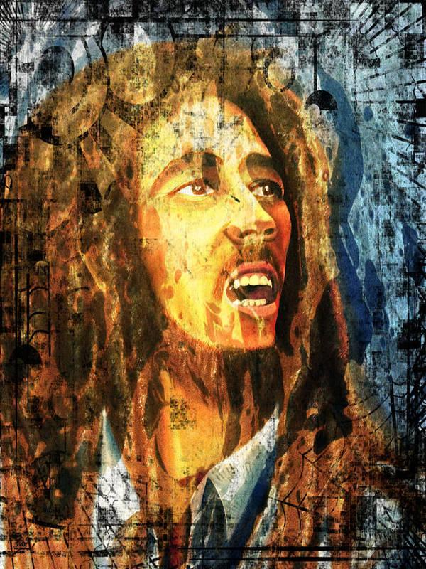 Bob Marley Poster featuring the painting Bob Marley by Biren Biren
