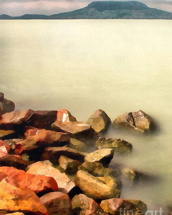 Odon Poster featuring the painting Calm by Odon Czintos