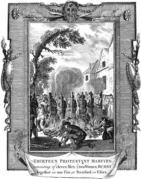 16th Century Poster featuring the photograph Foxe: Book Of Martyrs by Granger