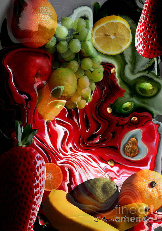 Fruits Poster featuring the digital art Fruit Medley by Monika A Leon