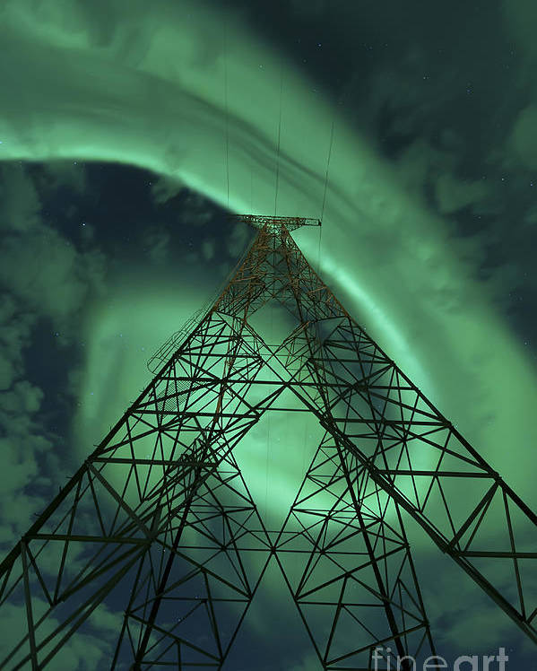 Green Poster featuring the photograph Powerlines And Aurora Borealis by Arild Heitmann