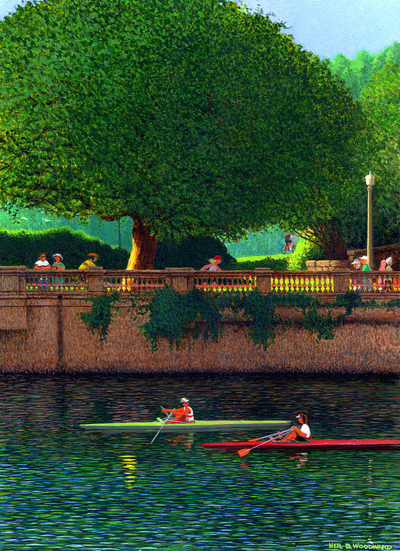 Sculling Poster featuring the painting Scullers At Coal Harbour by Neil Woodward