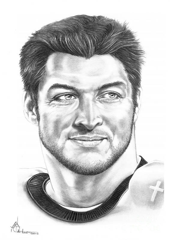 Drawing Poster featuring the drawing Tim Tebow by Murphy Elliott