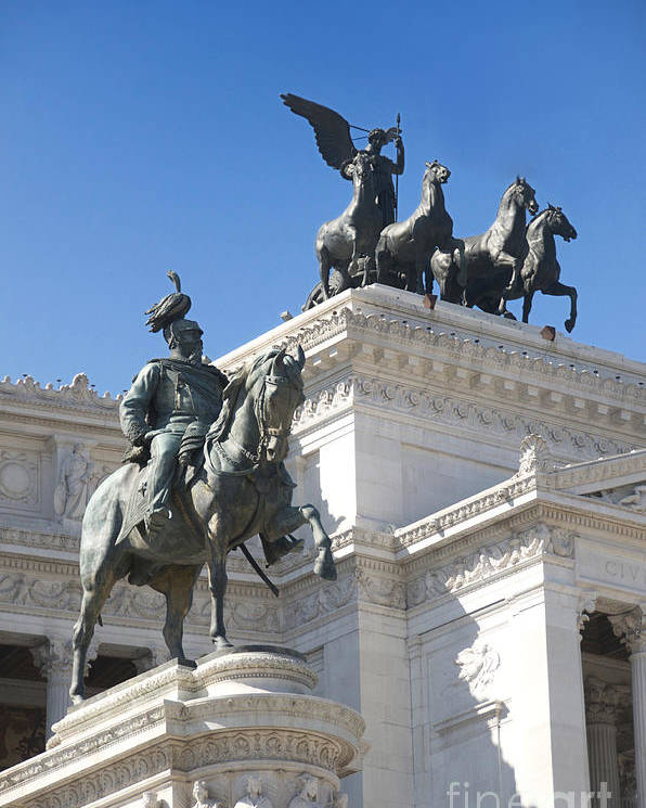 Bronze Poster featuring the photograph Vittoriano. Monument To Victor Emmanuel II. Rome by Bernard Jaubert