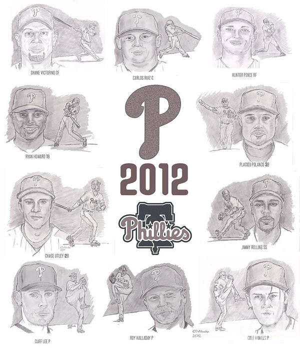 Philadelphia Phillies Poster featuring the drawing 2012 Phightin' Phils by Chris DelVecchio