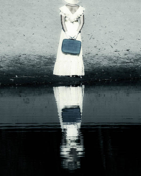 Woman Poster featuring the photograph Woman With Suitcase by Joana Kruse
