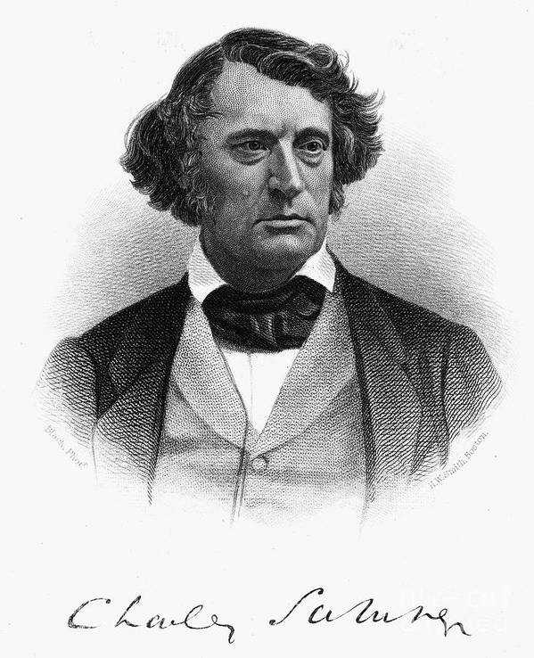 1868 Poster featuring the photograph Charles Sumner (1811-1874) by Granger