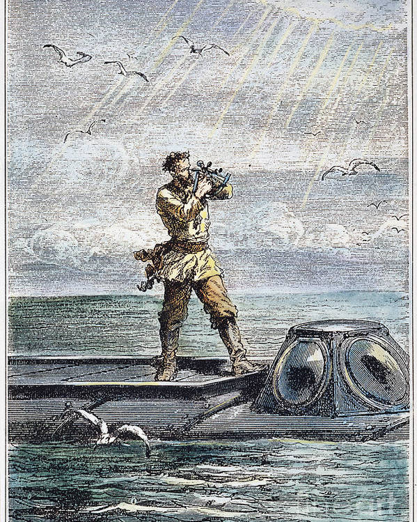 1870 Poster featuring the photograph Verne: 20,000 Leagues, 1870 by Granger