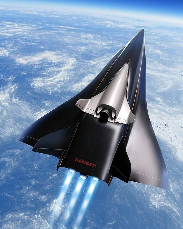 Aerodynamics Poster featuring the photograph Saenger Horus Spaceplane, Artwork by Detlev Van Ravenswaay